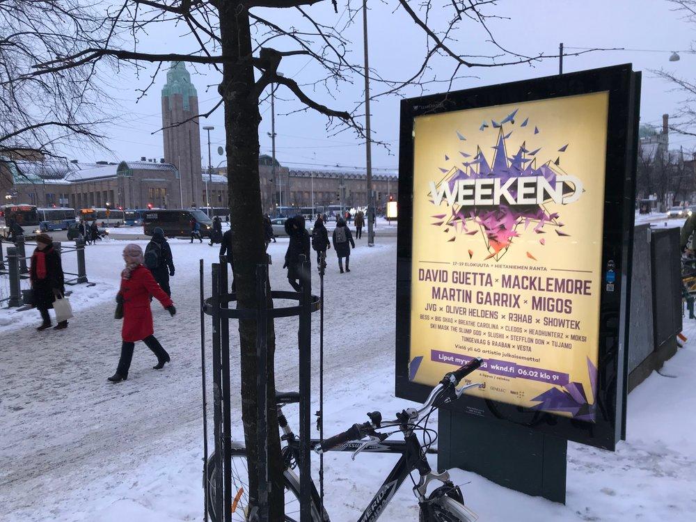 Weekend festival 2018, outdoor campaign Helsinki