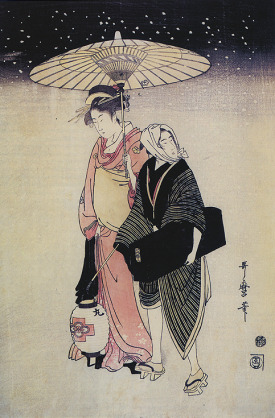 Image above: Geisha and Attendant in snow by  Kitagawa Utamaro  1790s. (taken from Geisha Beyond the Painted Smile, edit. the Peabody Essex Museum. Salem: Geroge Braziller, Inc., 2004)