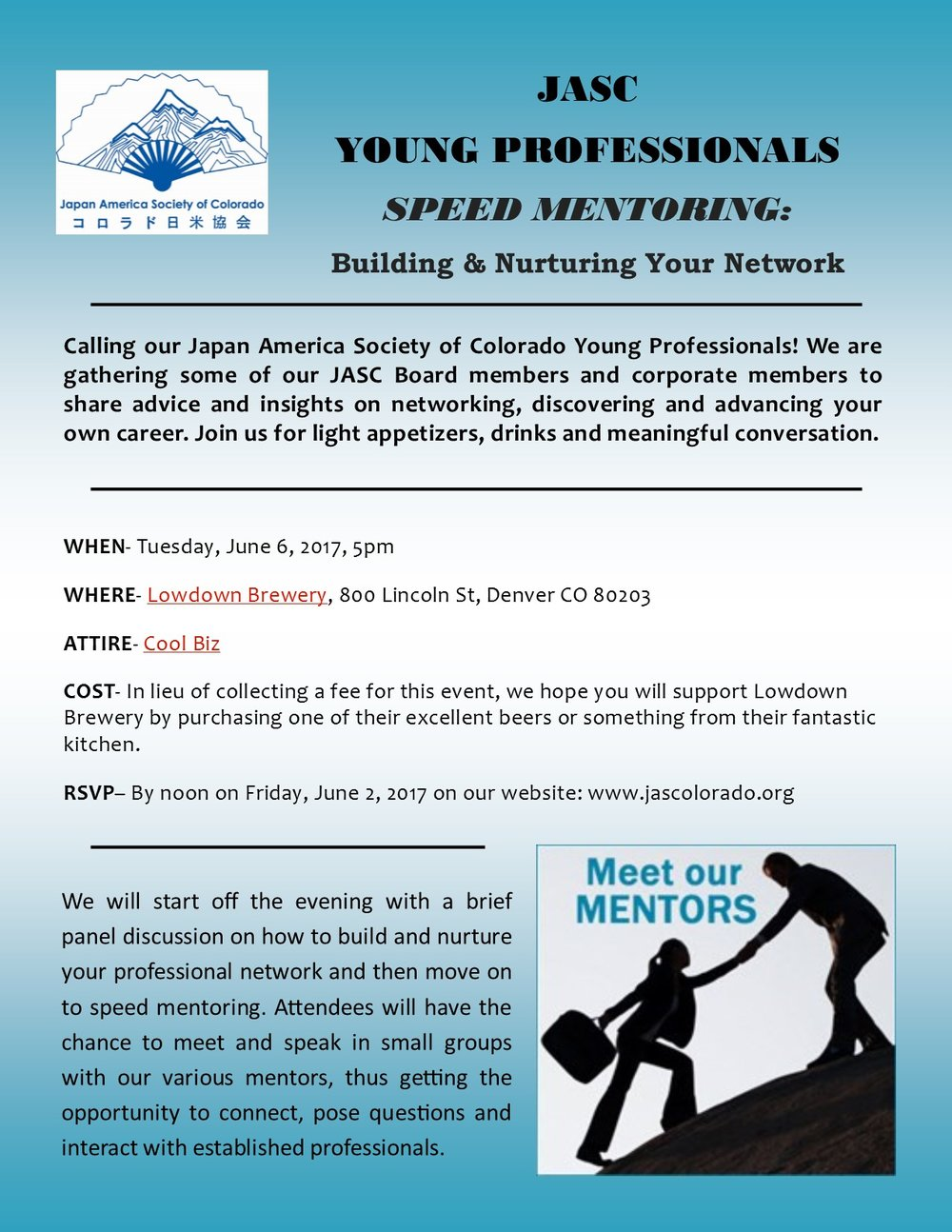 Speed Mentoring — Japan America Society of Colorado