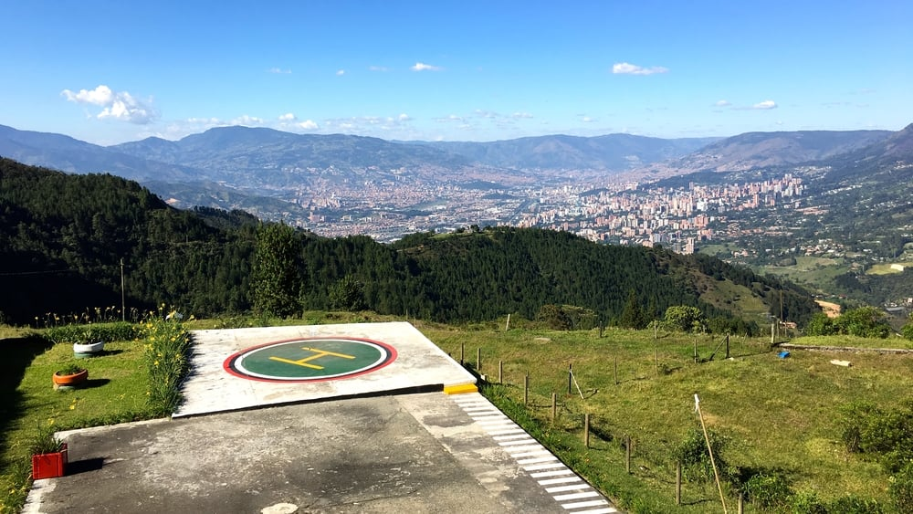 The helipad at Pablo's self made jail with a view of Medellin