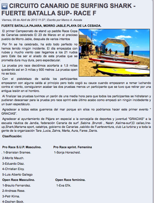 CIRCUITO CANARIO DE SURFING SHARK - FUERTE BATALLA SUP- RACE F