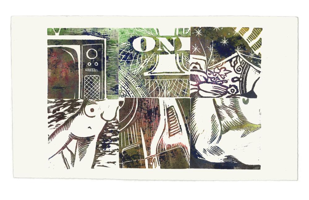 "2009 Linocut on rag paper 7"" x 12"""