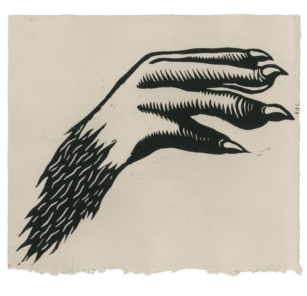 "2014 Linocut on rag paper 8"" x 9"""