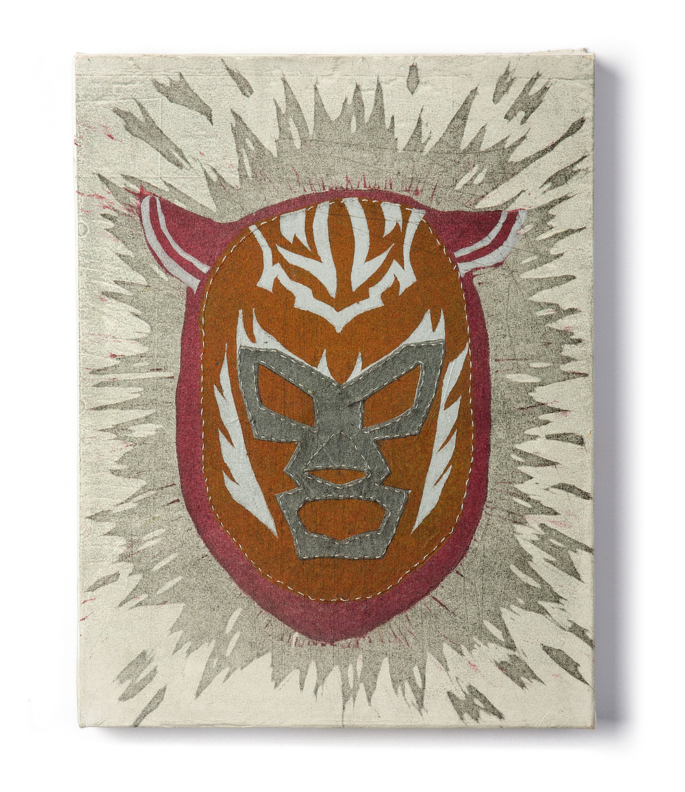 "Evolution of a Luchador  2011 Reduction linocut on transparent panel, with stitching 13"" x 10"" x 1.5"""