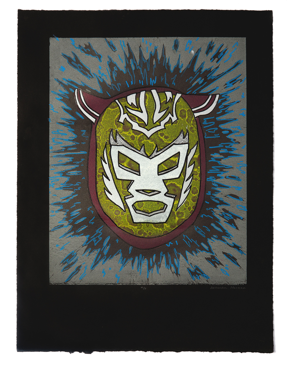 "Evolution of a Luchador  2011 Reduction linocut with paint pen 18"" x 13"""