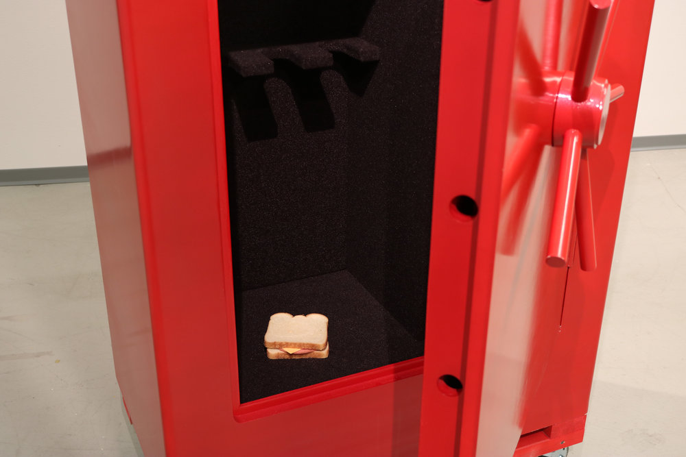 (Untitled), detal  2018 MDF, primer, spray paint, upholstry fabric, hinges, white bread, american cheese, bologna