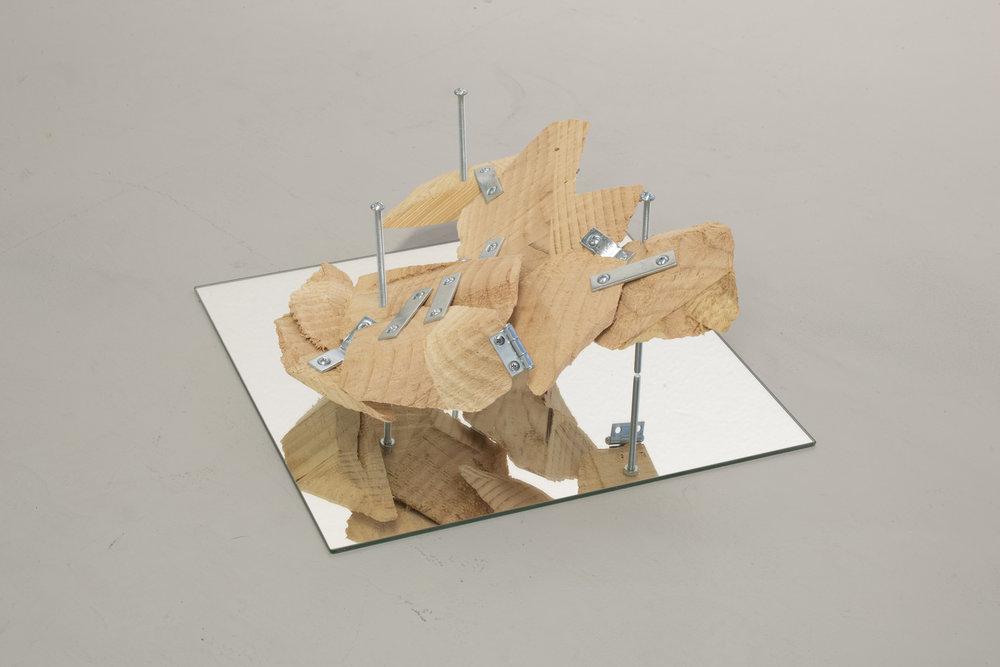 "(Untitled)  Pine, mending plates, hinge, screws, mirror 2018 6"" x 12"" x 12"""