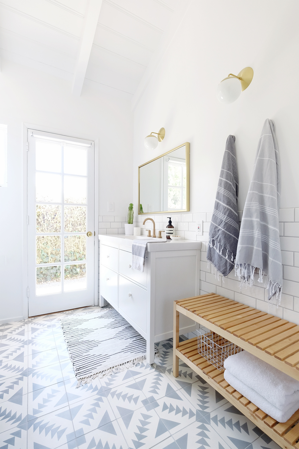 Our Shower Bathroom Was Previously Known As The Yellow Bath For Its Pastel Sinks And Tiles Goal Remodel Low Maintenance