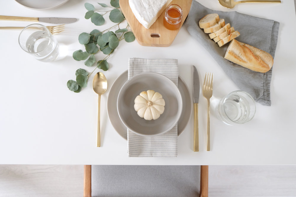 Plates ,  Bowls ,  Glasses : Rove Concepts  |   Flatware ,  Napkins : West Elm