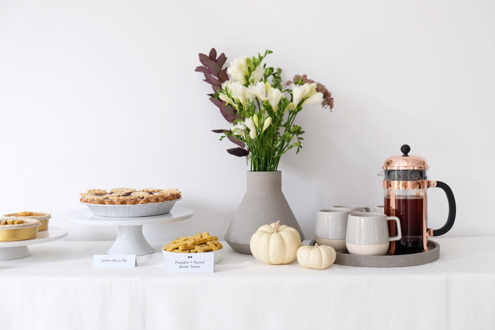 Coffee Mugs ,  Geometric Vase ,  Concrete Tray : Rove Concepts  |   French Press : Bodum