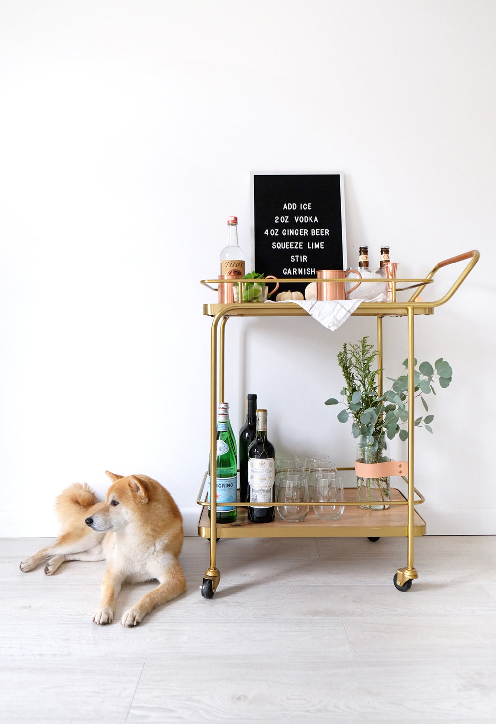 Copper Mugs ,  Glass Vase : Rove Concepts  |   Bar Cart : Target  |   Bar Tools : West Elm  |   Letter Board : Three Potato Four