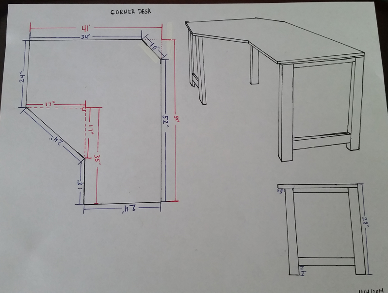 before learning how to use google sketchup my plans were all drawn out   this desk is sized to fit between my entertainment center and the wall