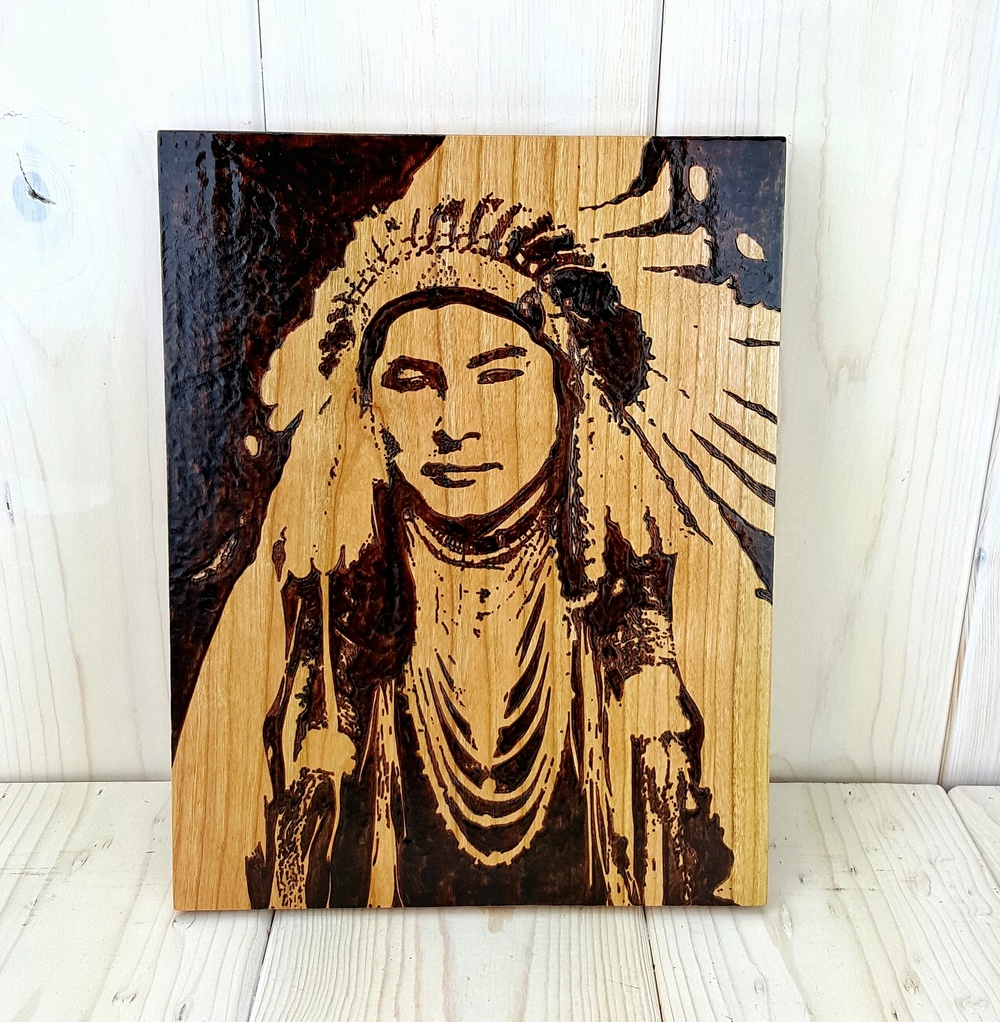 Custom Picture Woodburning on Cherry