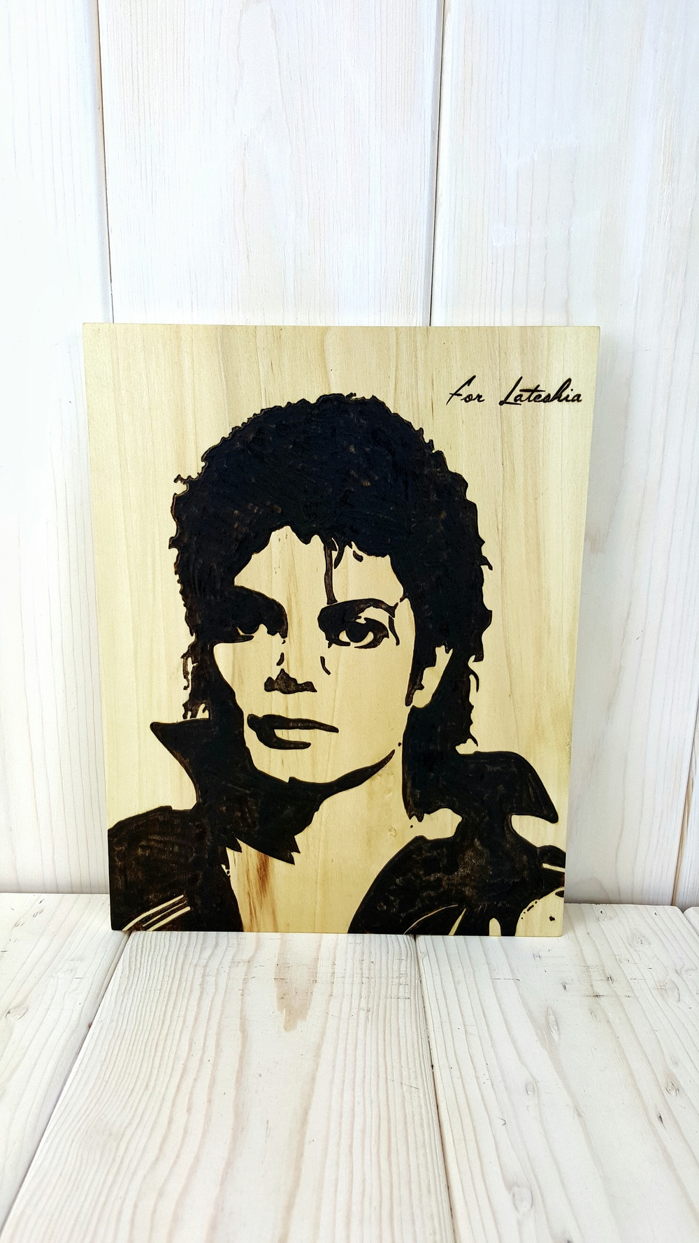 Michael Jackson Woodburning