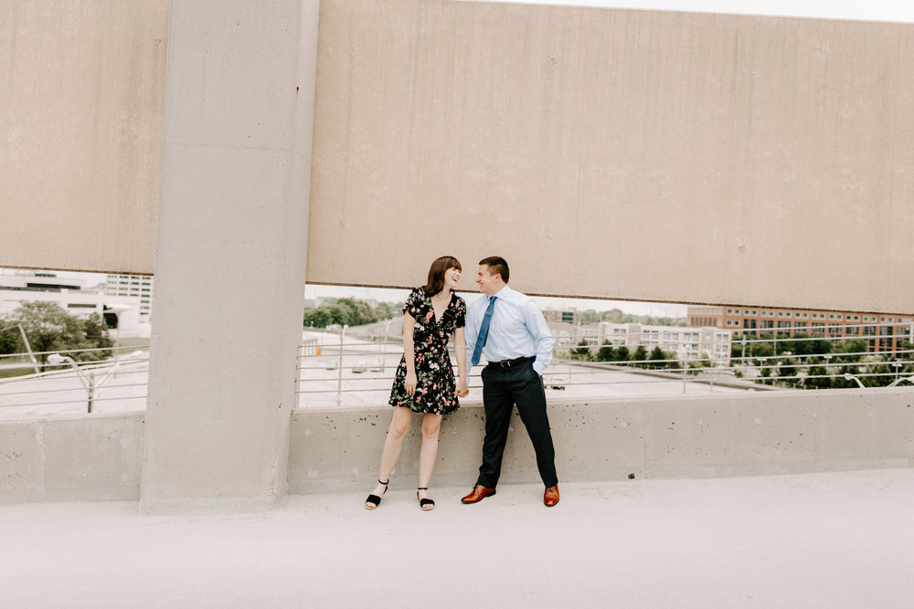 Emily and Davis Engagment Session Downtown Indianapolis Rooftop Emily Elyse Wehner Photography LLC-69.jpg