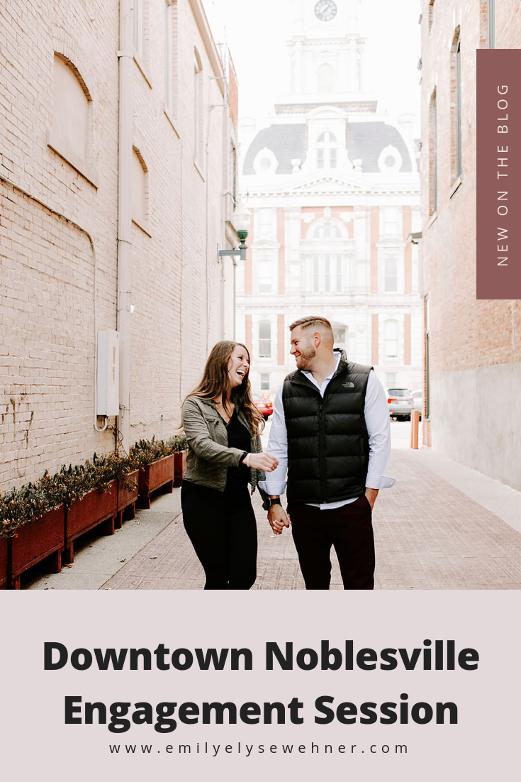 Engagement session at Downtown Noblesville, Indiana at a Christmas tree farm by Emily Elyse Wehner