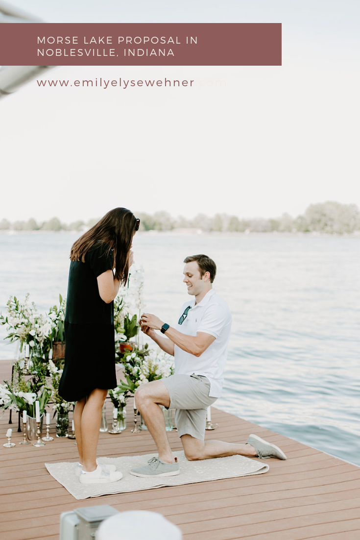 Morse Lake Proposal In Noblesville, Indiana. Browse for inspiration when planning your proposal including proposal reactions, couples posing ideas, family celebration engagement party decorations and ideas | Photography by Emily Elyse Wehner, Indiana wedding photographer