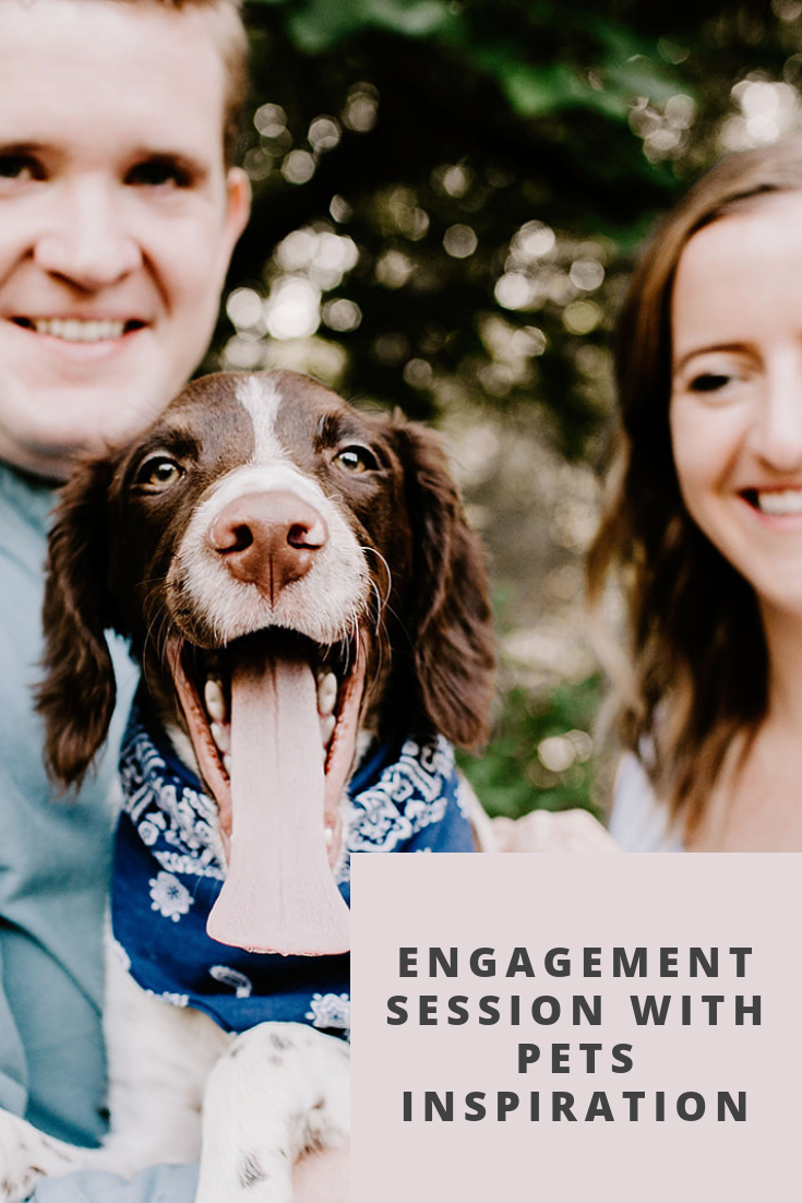 Browse through this outdoor engagement session at 100 Acre Woods in Indianapolis, Indiana by Emily Elyse Wehner Photography | Engagement photos with pets, outdoor engagement photos, posing inspiration for couples session, outfit ideas for engagement session | #engagementphotography