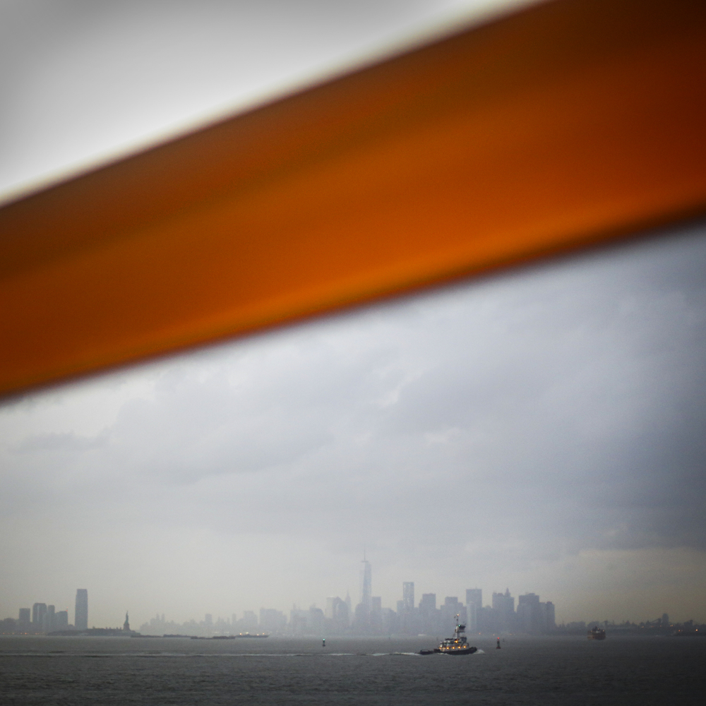 The Manhattan skyline from the statin island ferry.