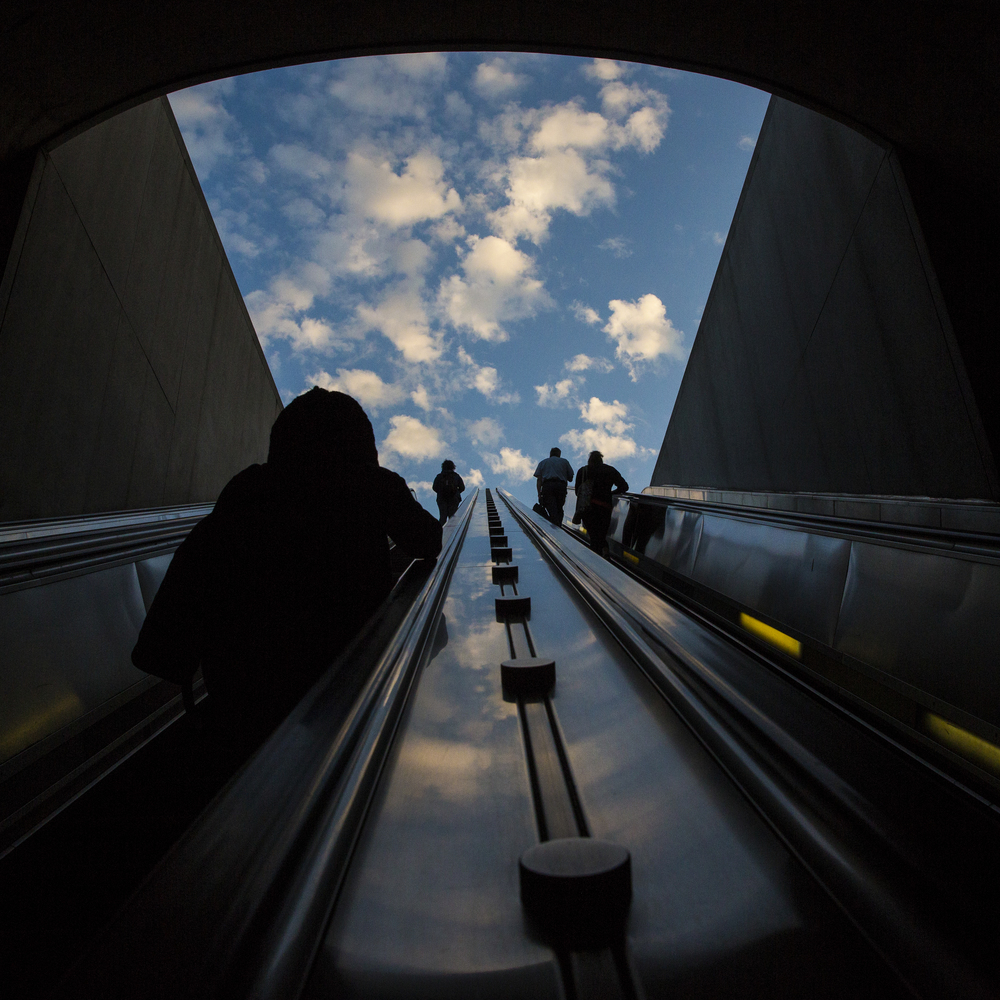 Patrons exit the Capitol South metro station on the morning of Tuesday June 3, 2014. The Washington D.C. Metro is the second-busiest rapid transit system in the United States in number of passenger trips, after the New York City Subway.There were 215.3 million trips in 2008.