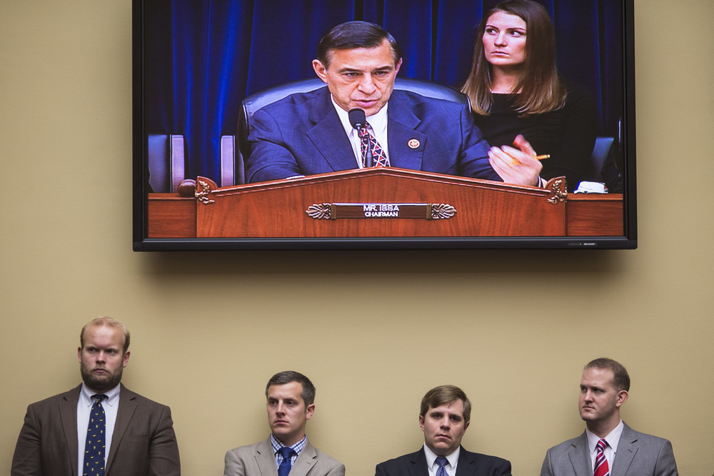 "People watch as Oversight Committee Chairman Darrell Issa speaks during a Full Committee Hearing on the ""The Ebola Crisis: Coordination of a Multi-Agency Response"" at the Rayburn House Office Building in Washington, DC. on Friday October 24, 2014."
