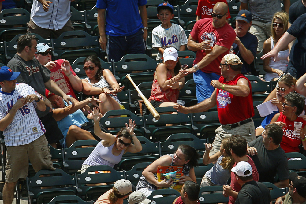 New York Mets catcher Anthony Recker's (20) bat flys into the stands during the first inning at Citi Field in New York, N.Y. on Saturday, July 20, 2013. The New York Mets won 5-4 against the Philadelphia Phillies.
