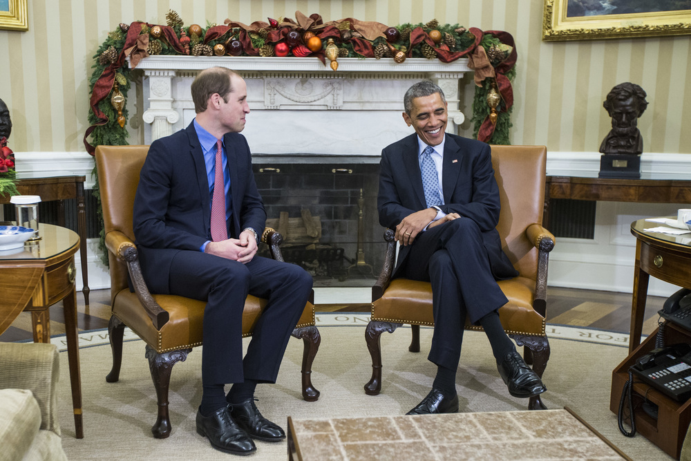 President Barack Obama speaks with Prince William, the Duke of Cambridge, during a meeting in the Oval Office at the White House in Washington, DC on Monday December 08, 2014. This will be The Duke of Cambridge's first visit to Washington, DC and President Obama thanks The Duke of Cambridge for the hospitality shown to him by the Royal Family during the his recent visits to the United Kingdom which underscored the special relationship between the United States and the United Kingdom.