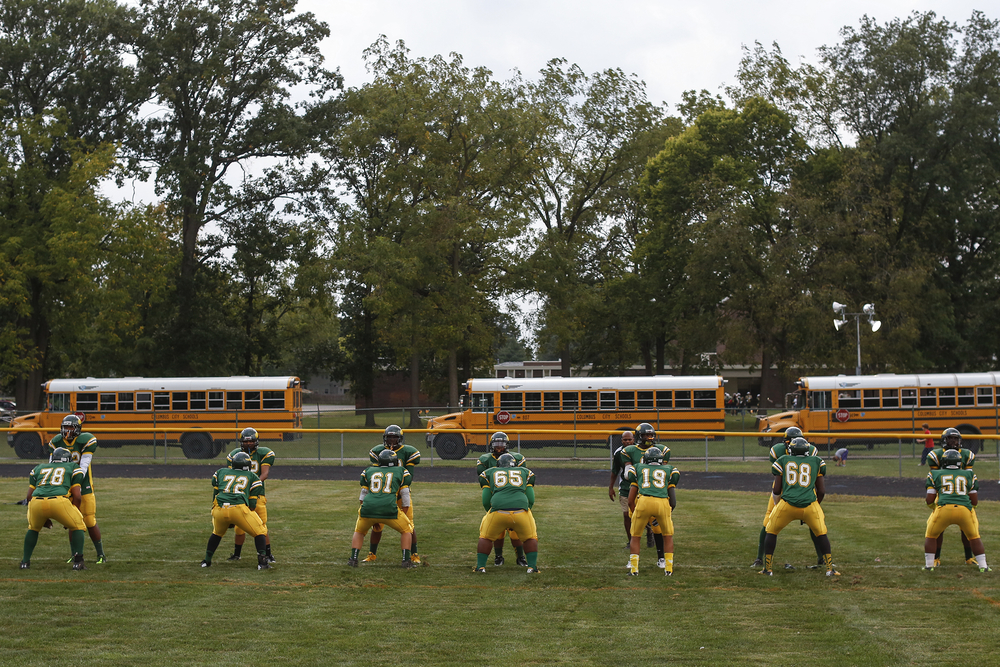 Northland High School warms up before Friday's game where Northland High School hosts Brookhaven High School in Columbus, Ohio on Friday, Sept. 20, 2013.