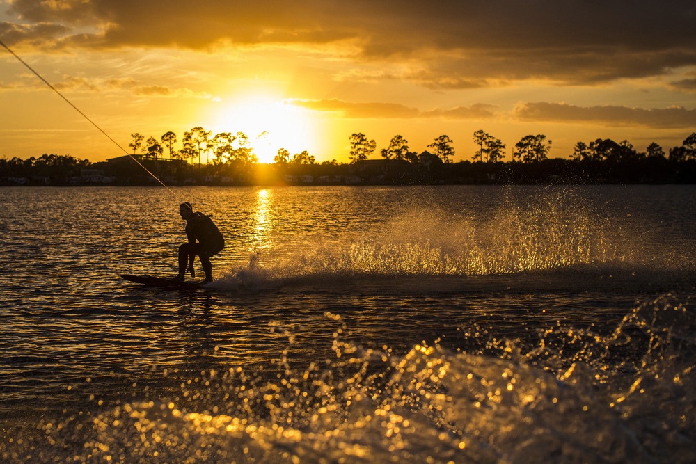 Dawson Botsford wake boards at  Lake Whippoorwill in Orlando, Florida on Christmas Day 2013.