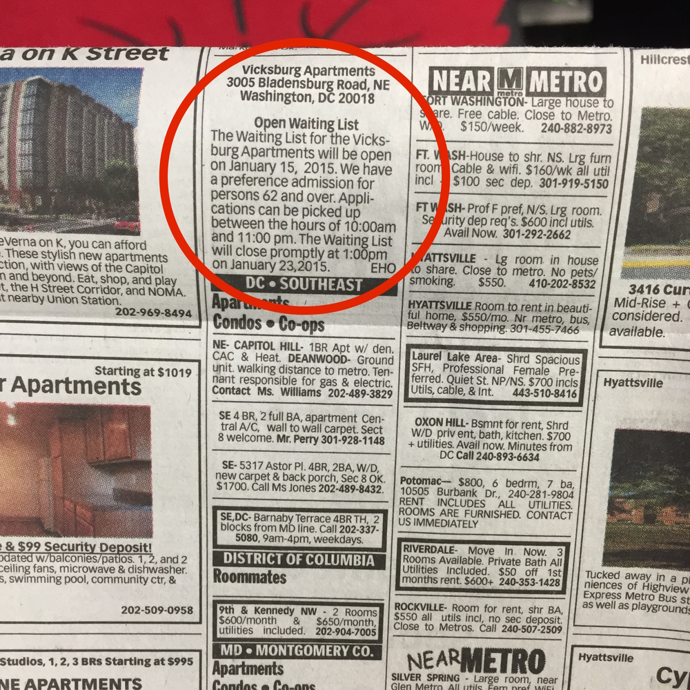 Listings in the printed version of the Washington Post are used to find newly opened waiting lists.   How can we better get this information to people?