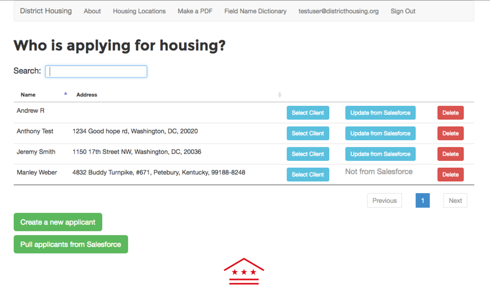 Screenshot of the affordable housing app being built for Bread for the City.