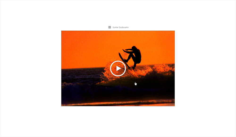 Similar to images, videos had a hover state that indicated the video could be played.