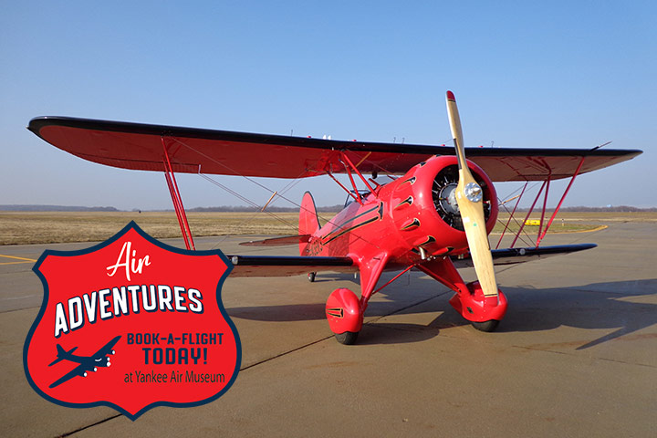 Yankee Air Museum's Air Adventures Program now offers open cockpit flights in our WACO YMF-5 Super Biplane, The latest addition to our fleet of aircraft