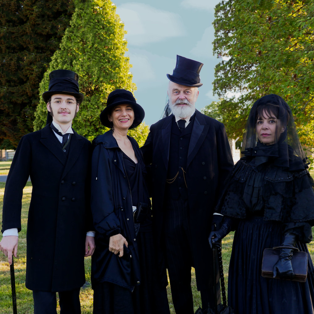 Parker McIntosh, Roz McNulty, Ivan Sayers & Carla Elm Clement dressed for Summer Solstice at Mountain View Cemetery