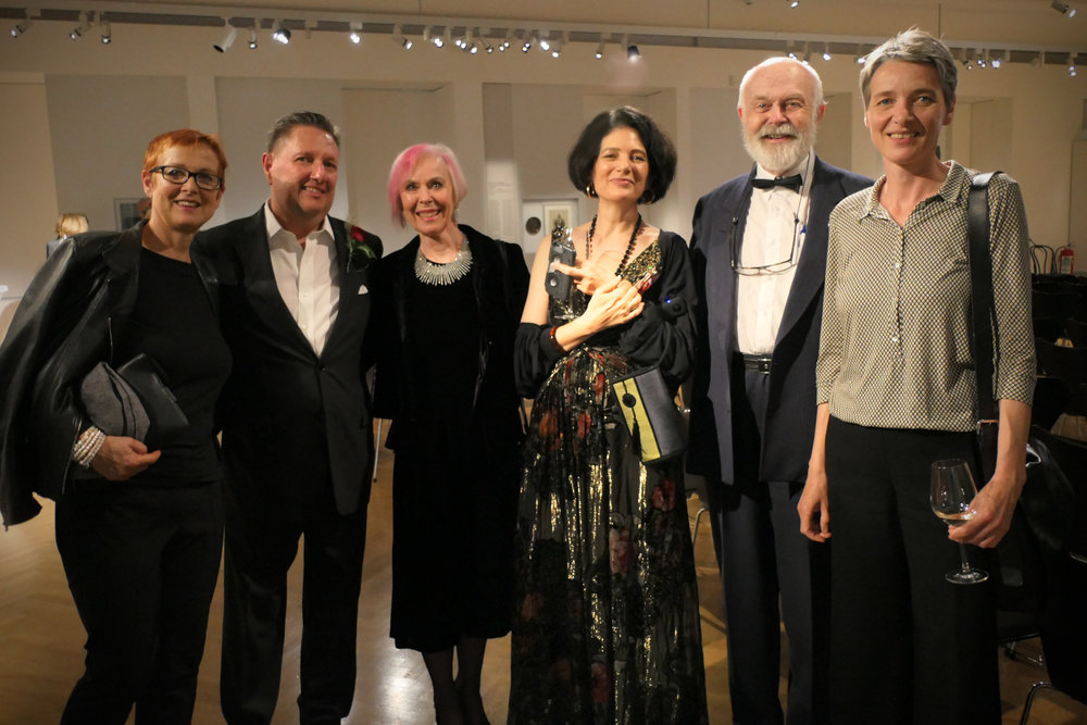 Maxie Schwerin, Claus Jahnke, Lynn Katey, Roz McNulty and Gisela Mueller at the opening of 'Buy From Jews! Story of a Viennese store culture' at the Jewish Museum in Vienna, Austria.