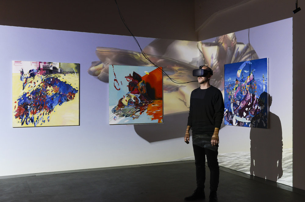 Exhibition view THE UNFRAMED WORLD at HeK Basel, artwork: Rachel Rossin, Just A Nose, 2016 (Installation and VR experience for Oculus Rift) / Photo by Franz Wamhof
