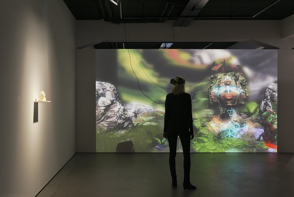 Exhibition view THE UNFRAMED WORLD at HeK Basel, artwork: Alfredo Salazar-Caro, Portrait of Elizabeth Mputu, 2016 (Sculpture and VR experience) / Photo by Franz Wamhof