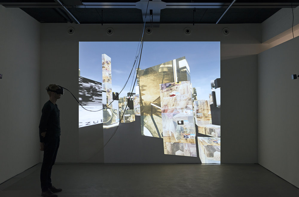 Exhibition view THE UNFRAMED WORLD at HeK Basel, artwork: Marc Lee, 10.000 moving cities - same but different (Version 4), 2016 (VR experience for HTC Vive) / Photo by Franz Wamhof