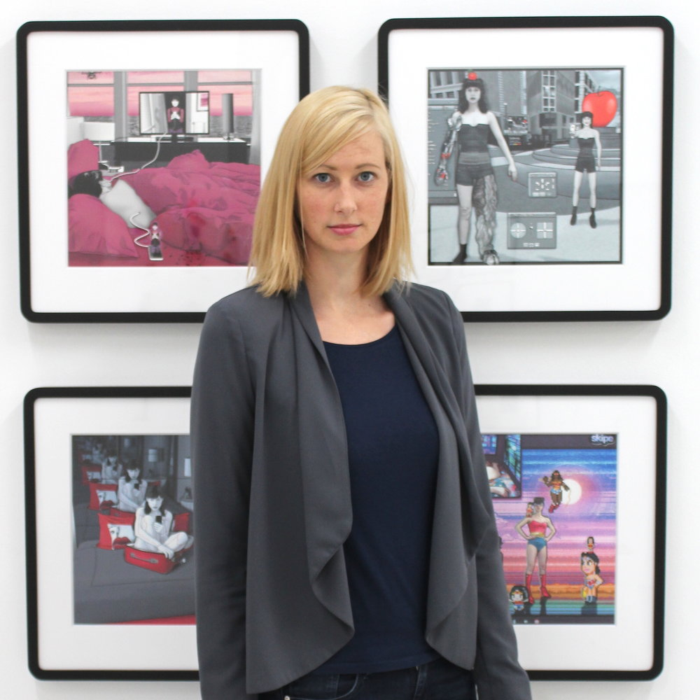 Tina Sauerlaender with works by Carla Gannis.JPG