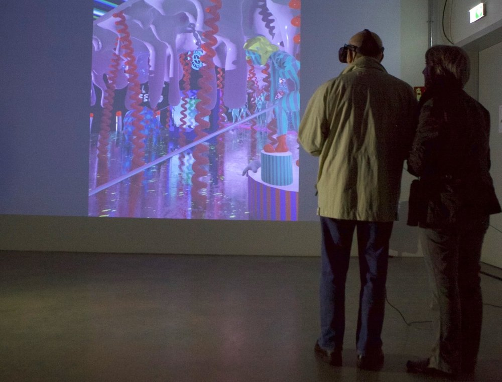 Exhibition view UNCANNY CONDITIONS, VR installation by Geoffrey Lillemon, Nailpolish Inferno / photo by Andreas Brauner, Bluesbrother.de, 2017