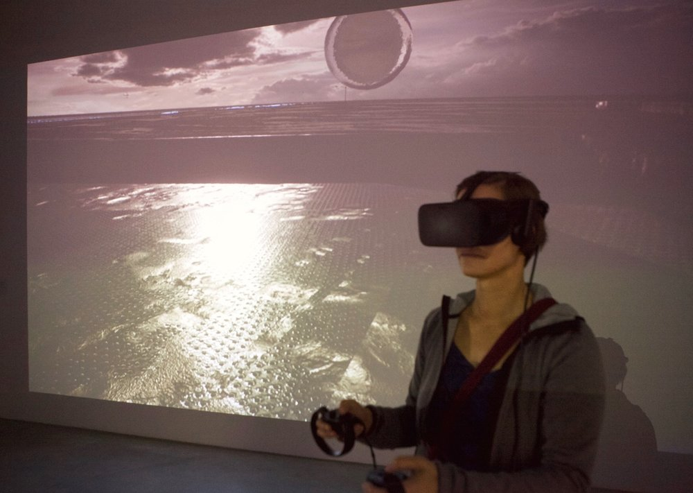 Exhibition view UNCANNY CONDITIONS, VR installation by Jakob Kudsk Steensen, Aquaphobia / photo by Andreas Brauner, Bluesbrother.de, 2017