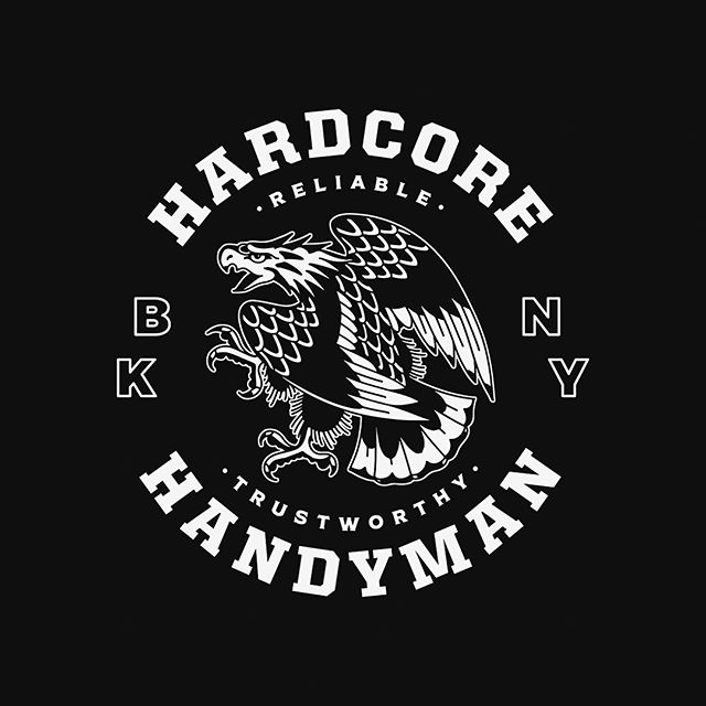 Recently approved pocket tee shirt design for @hardcorehandymannyc. Eagle drawing by @austinmaples. Printing by @empressprintingnyc. #buskedesign #bskdsgn #typetopia #typespire #typedaily #typegang #typematters #tyxca #typehaul #differentype #goodtype #logo #logotype #logosai #logodaily #logospire #logo_showcase #logospiration #logo4show #designspiration #gfxmob #badgedesign #shirtdesign