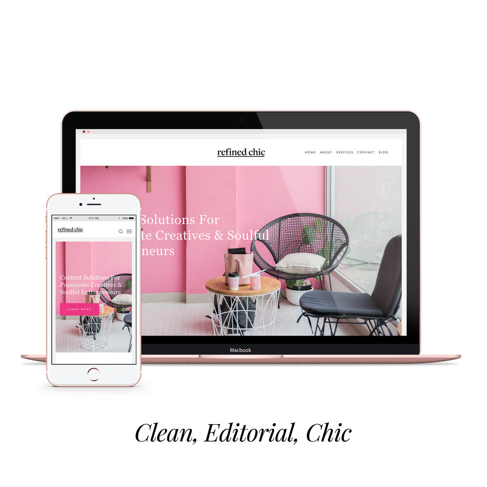 refined chic  styled website  $450