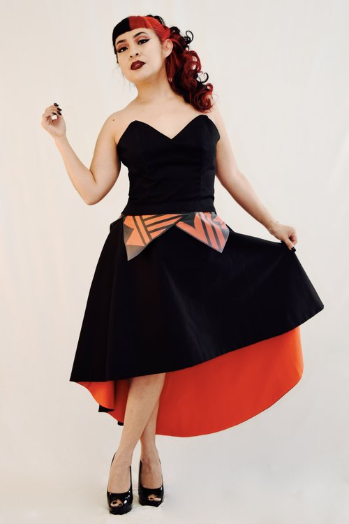 2017 Autumnwinter Collection Black Corset Style Dress With Fire