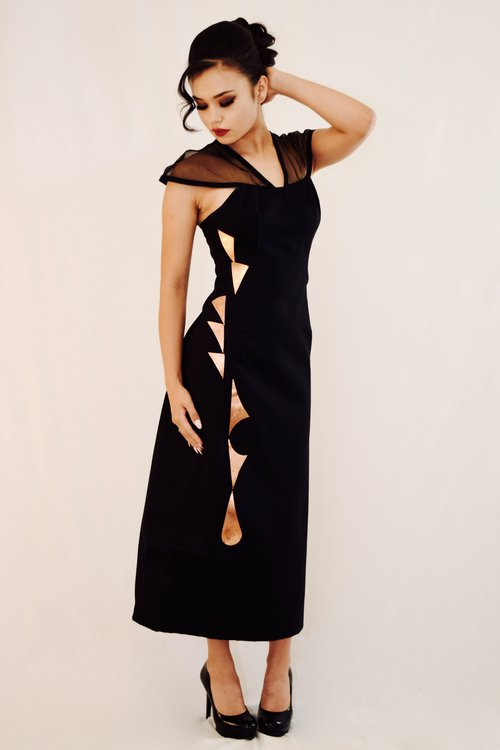 2017 Autumnwinter Collection Black Twill Illusion Top Dress With