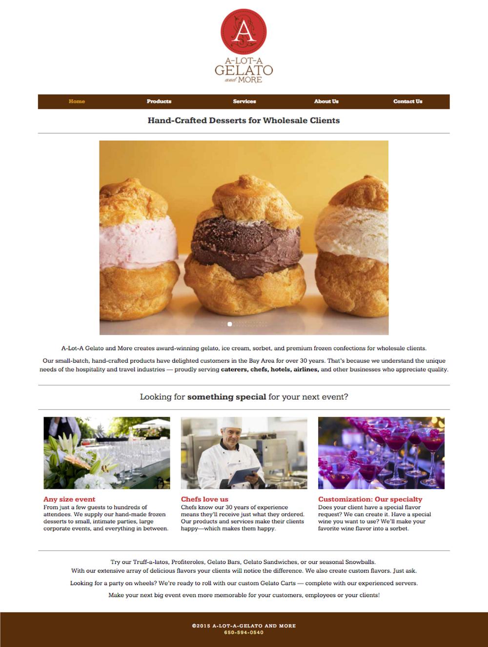 gelato website - copywriting