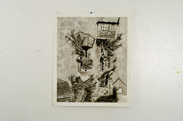 "Tree Houses, Eureka Ca   India Ink on water color paper  18.5"" x 11""  Oscar E Rodriguez   2009  Photo: Mike Little Photography"