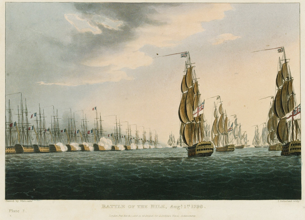 Battle of the Nile, Augt. 1st 1798: The British fleet bears down on the anchored French. A plate engraved by Thomas Sutherland of an original painting by Thomas Whitcombe.