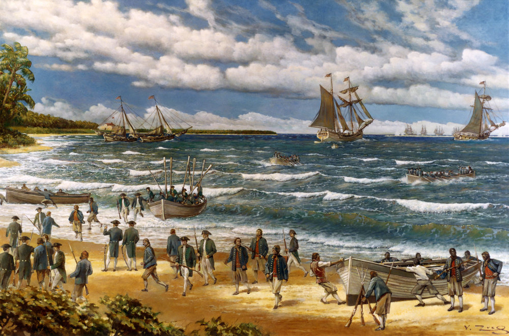 Oil painting on canvas by V. Zveg, 1973, depicting Continental Sailors and Marines landing on New Providence Island, Bahamas, on 3 March 1776. Their initial objective, Fort Montagu, is in the left distance. Close off shore are the small vessels used to transport the landing force to the vicinity of the beach. They are (from left to right): two captured sloops, schooner Wasp and sloop Providence. The other ships of the American squadron are visible in the distance.
