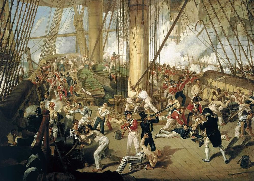 The Fall of Nelson, Battle of Trafalgar, 21 October 1805. Painter: Denis Dighton